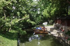 The tourist boat on the channel in Suzhou China stock photo