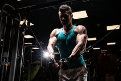Very power athletic guy bodybuilder Stock Image