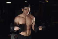 Very power athletic guy bodybuilder, execute exercise with dumbbells, in dark gym. Royalty Free Stock Photos