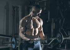 Very power athletic guy bodybuilder Royalty Free Stock Photography