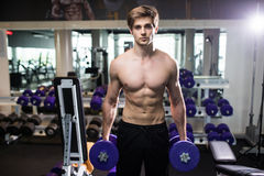 Very power athletic guy , execute exercise with dumbbells, in gym hall Royalty Free Stock Photo