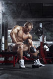 Very power athletic guy , execute exercise press with dumbbells, Royalty Free Stock Image
