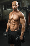 Very power athletic guy standing in gym with dumbbells and lokking at camera Stock Images