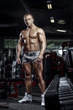 Very power muscular bodybuilder guy posing in the gym Royalty Free Stock Photos