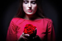 Very pretty woman with rose Royalty Free Stock Photography