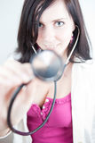 Very pretty young doctor with stethoscope Stock Photography