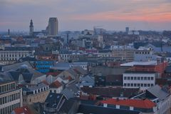 Very rare view of the panorama of the city of Ghent Royalty Free Stock Images