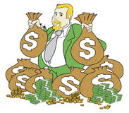 Very Rich Man. Illustration of a very rich man with money bags and loads of cash vector illustration