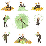 Very Rich Man Bathing In His Money, Happy Millionaire Magnate Male Character Series Of Illustrations Stock Photography