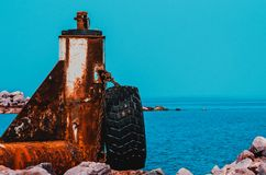 A very rusty abandoned port stock image