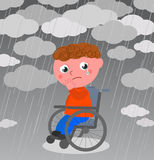 Very sad boy in wheelchair vector. Crying disabled kid under the rain, vector illustration Stock Photography