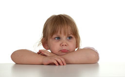 Very sad little blond hair girl Royalty Free Stock Photography