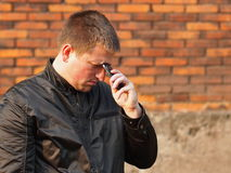 Very sad man after a phone call Royalty Free Stock Photo