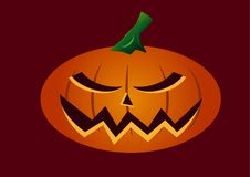 Very scary halloween pumpkin face. With bad expression on face, orange color on red background vector illustration