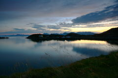Very scenic landscape. Very secnic landscape of the Lofoten islands at midnight (Norway Royalty Free Stock Photography
