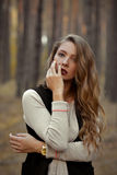 Amazing nice pretty girl held hands near the face, worry royalty free stock photo