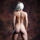 Very sexy and beautiful nude or naked woman before a brown backg Royalty Free Stock Photo