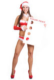 Very sexy christmas girl holding empty white board Stock Photos