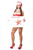 Very sexy christmas girl holding empty white board Stock Photo