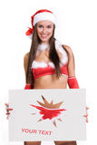Very sexy christmas girl holding empty white board Stock Image