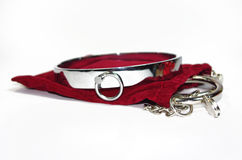 Very and kinky steel collar with handcuff.  royalty free stock photography