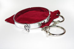 Very sexy and kinky steel collar with handcuff Stock Photography