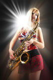 Very saxy girl Royalty Free Stock Images