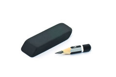 Very short pencil and a black rubber stock images
