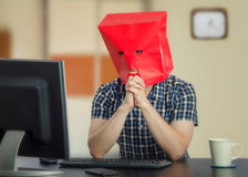 Very shy man is finding love on the Internet Royalty Free Stock Photo