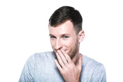Very shy young man Stock Photo