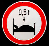 Very signify traffic sign. Permitted total weight. If you want to sleep well, don`t eat too much royalty free stock photography