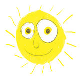 Very silly sun with big eyes. Hand made illustration of very silly sun stock illustration