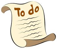 A very simple scroll of paper with a to-do list, no background royalty free illustration