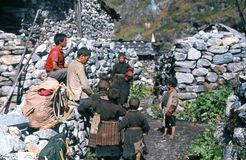 1975. Nepal. Langtang village.. The very simple village of Langtang, with some poor but friendly and happy people Royalty Free Stock Photo