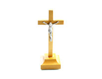 Very simple wooden holy crucifix jesus christ Stock Image
