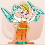 Very skillful handyman. Extra skillful handyman with four arms holding tools Royalty Free Stock Images