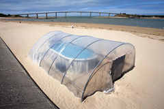 Very small indoor swimming pool on the beach Stock Photography