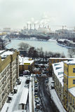 Very snowing day in Moscow, view of Moscow-river Stock Photography