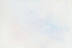 Very soft hand-drawn tender blue watercolor stain on white of water-color paper, paper grain texture. Abstract image for royalty free stock image