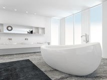 Very spacious bright modern bathroom with bathtub Royalty Free Stock Images