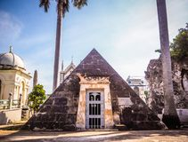 Very special crypt at a cemetery in Havana. A pyramid shaped crypt at the colon cemetery in Havana Royalty Free Stock Image
