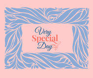 Very special day ornament frame. In pantone 2016 year colors serenity blue and rose quartz. Holidays card template. Vector Royalty Free Stock Photo