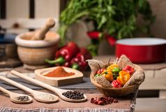 Very spicy peppers and spices stock photo
