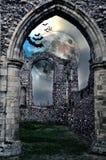 Very spooky Halloween castle in the moonlight stock photos