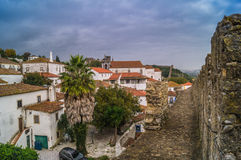 A very Steep narrow street of Obidos town, Portugal,Europe. Stock Images