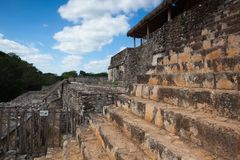 Very steep stairs in majestic ruins in Ek Balam. Yucatan, Mexico stock image