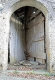 Strange double door of a stable to access two different rooms us. Very strange double door of a stable to access two different rooms using a single entrance gate Royalty Free Stock Images
