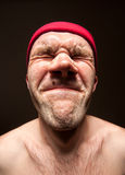 Very stressed funny man. Close-up portrait of very stressed funny man royalty free stock photo