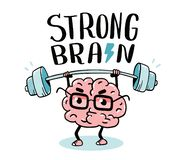 Very strong cartoon brain concept. Doodle style. Vector illustration of pink color centered brain with glasses lifts weights. Line art style design of stock illustration