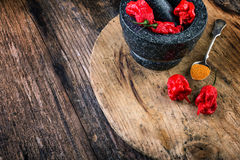 Very strongly hot pepper Carolina Reaper Royalty Free Stock Photo